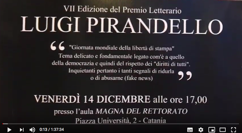 Video e foto VII edizione premio Pirandello 2018